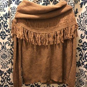 Tan Tassel Fringe Sweater